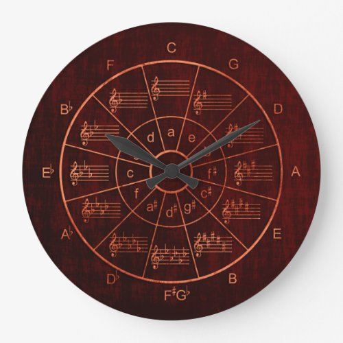 Circle of fifths brown  red color musicians large clock
