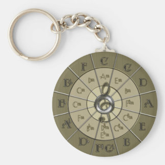 Circle of Fifths Deco Gold Basic Round Button Keychain