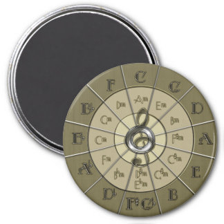 Circle of Fifths Deco Gold 3 Inch Round Magnet