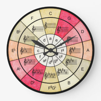 Circle of fifths elegant design for musicians large clock