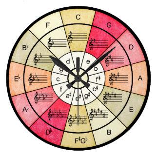 Circle of fifths elegant design for musicians large clock