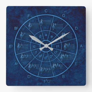 Circle of fifths elegant design for musicians square wall clock