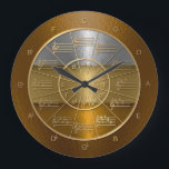 """Circle of Fifths for Musicians Who Shine Large Clock<br><div class=""""desc"""">This clock is designed to appear as if wrought in hammered gold,  silver,  and bronze,  and will look beautiful on any wall,  in particular that of the music studio.</div>"""