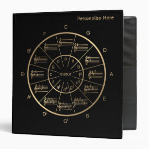 Circle of Fifths in Gold for All Musicians Binder
