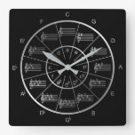 Circle of Fifths in Silver for Musicians Square Wall Clock