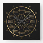 Circle of Fifths is Golden for Musicians Square Wall Clock