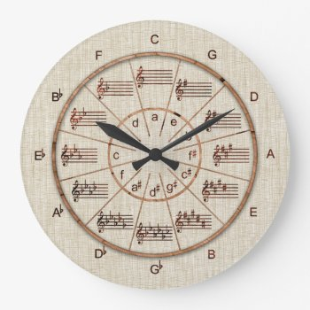 Circle Of Fifths Look Of Wood For Musicians Large Clock by colorwash at Zazzle