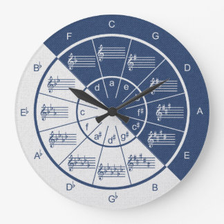 Circle of Fifths Musical Blue Denim Half & Half Large Clock