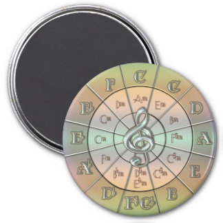 Circle of Fifths Pastel 3 Inch Round Magnet