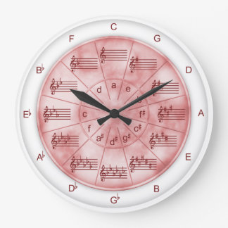 Circle of Fifths Pink Marble for Musicians Large Clock