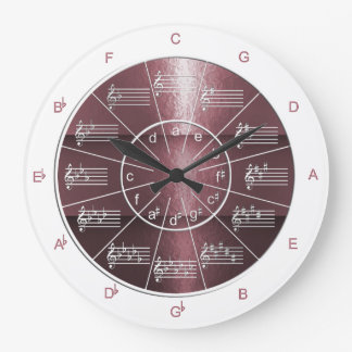Circle of Fifths Plum-colored Musical Shine Large Clock