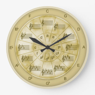 Circle of Fifths Tan Marble for Musicians Large Clock