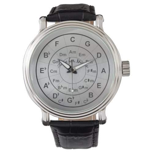 Circle of Fifths Time for Music Black Silver Wrist Watch