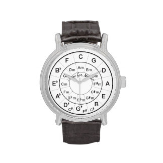 Circle of Fifths Time for Music Black Wristwatches