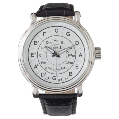 Circle of Fifths Time for Music Black Wristwatch
