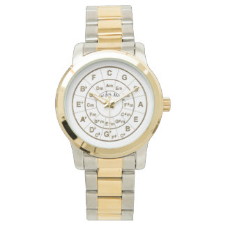 Circle of Fifths Time for Music Gold Wrist Watch