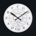 "Circle of Fifths wall clock<br><div class=""desc"">Time to learn your scales! Perfect for musicians practice room or studio.</div>"
