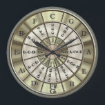 """Circle Of Fifths Wall Clock<br><div class=""""desc"""">All musicians should know the importance of the circle of fifths. What better way to learn it or remind yourself than purchase a great item with it on! This stylish and useful clock design shows the major keys and their relative minors plus the major triads. A great gift idea for...</div>"""