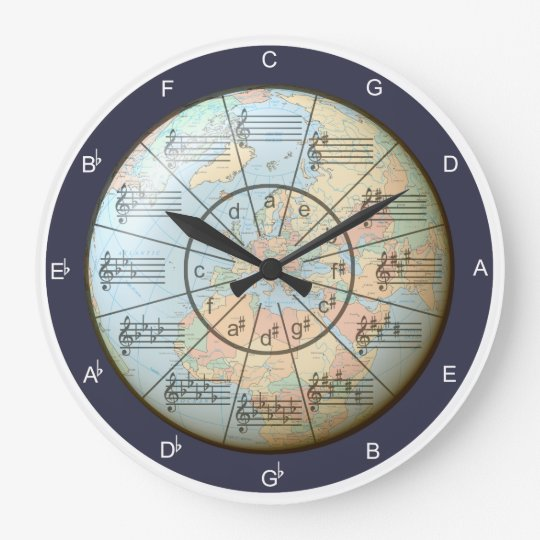 Circle Of Fifths World Of Music Large Clock Zazzle Com