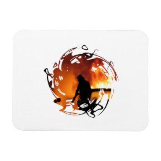 Circle Of Flames Rectangular Photo Magnet