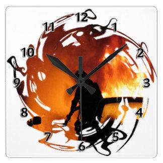 Circle Of Flames Square Wall Clock
