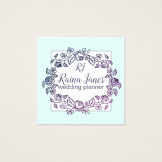 Circle Of Flowers Turquoise Wedding Planner Square Business Card