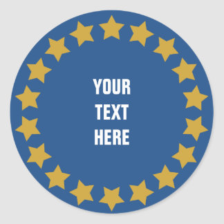 Circle of gold stars custom text & background classic round sticker