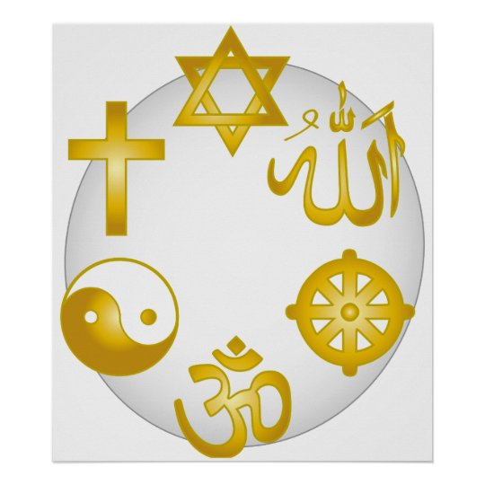 Circle of Golden Religious Symbols Poster
