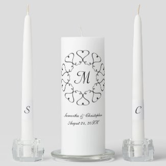 Circle of Hearts Wedding Unity Candle Set