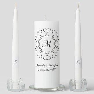 Circle of Hearts Wedding Unity Candle Set