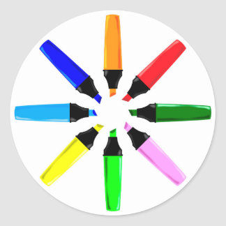 Circle of Highlighter Pens Classic Round Sticker