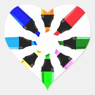 Circle of Highlighter Pens Heart Sticker