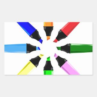 Circle of Highlighter Pens Rectangular Sticker