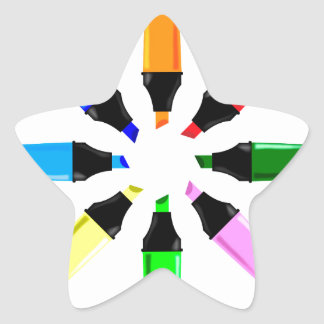 Circle of Highlighter Pens Star Sticker