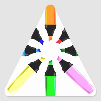 Circle of Highlighter Pens Triangle Sticker