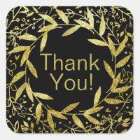 Circle of Leaves Wreath Gold Glitter | black Square Sticker