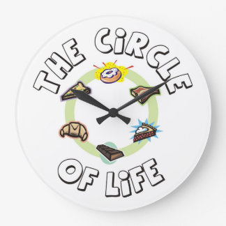 Circle of Life: Food, Meal, Dinner and Dessert Large Clock