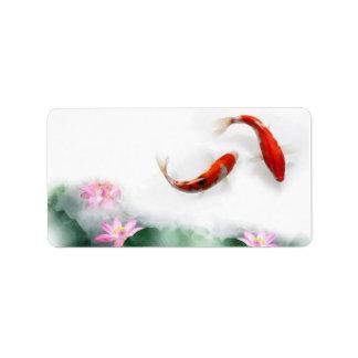 Circle of Life Oriental Zen Feng Shui Koi & Lotus Label
