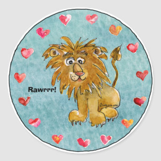 Circle of Lion Cartoon Hearts Stickers