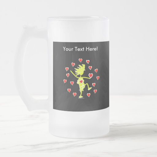 Circle of Love 16 Oz Frosted Glass Beer Mug