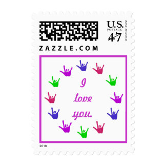Circle of love sign language hands, postage stamps