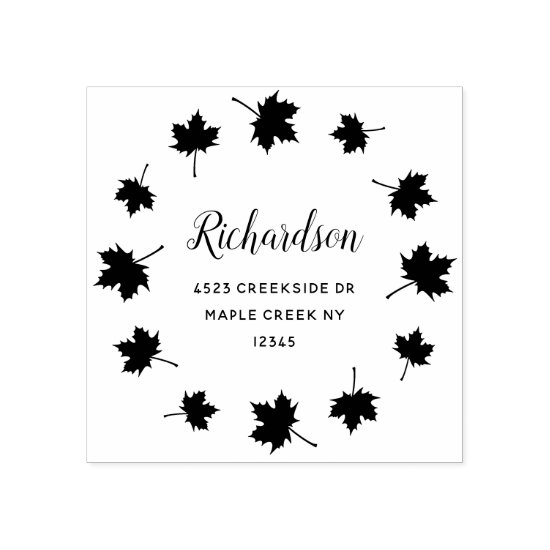 circle of maple leaves custom return address rubber stamp