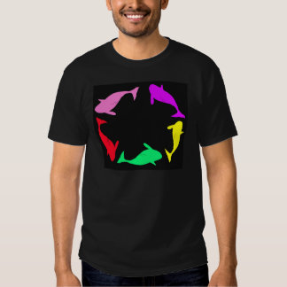 Circle Of Orca Whales Multicolor T Shirt