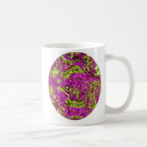 Circle of Pink and Green Distorted Flowers Mugs