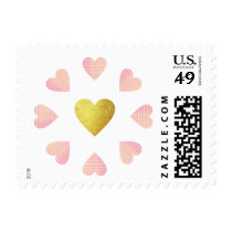 circle of pink hearts of love with a golden one postage