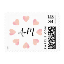 circle of pink hearts of love with initials postage