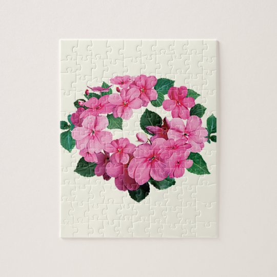 Circle of Pink Impatiens Jigsaw Puzzle