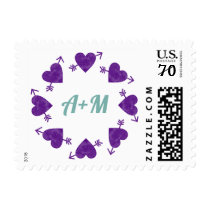 circle of purple hearts of love with initials, wed postage