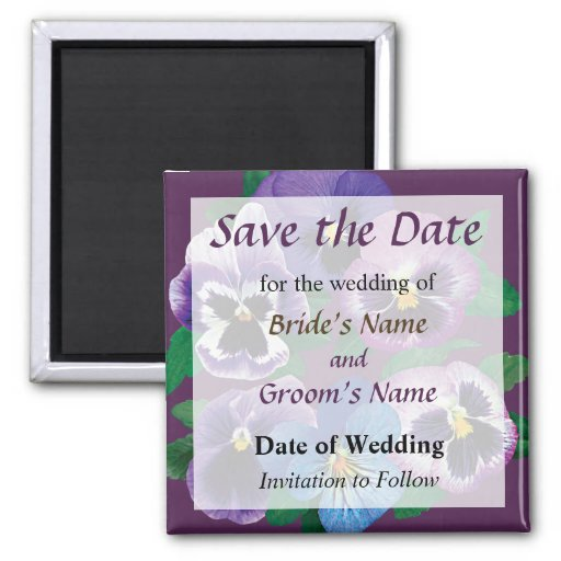 Circle of Purple Pansies Save the Date Magnet