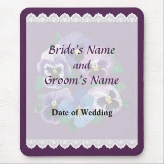 Circle of Purple Pansies Wedding Favors Mouse Pad